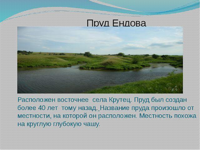 Пруд Ендова Расположен восточнее села Крутец. Пруд был создан более 40 лет то...