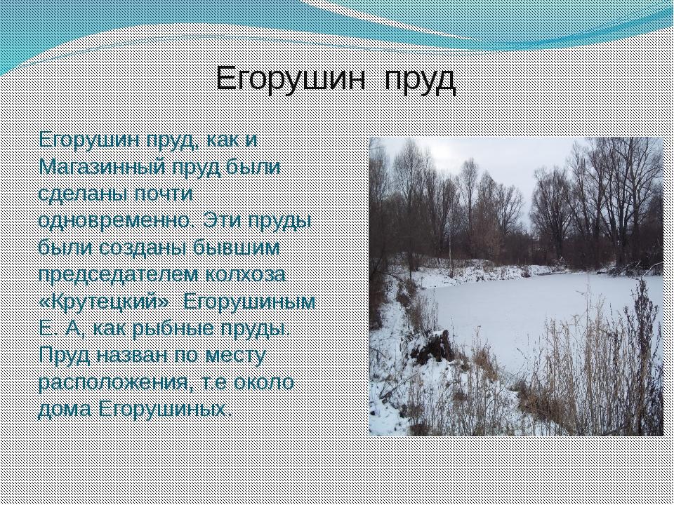 Егорушин пруд Егорушин пруд, как и Магазинный пруд были сделаны почти одновре...