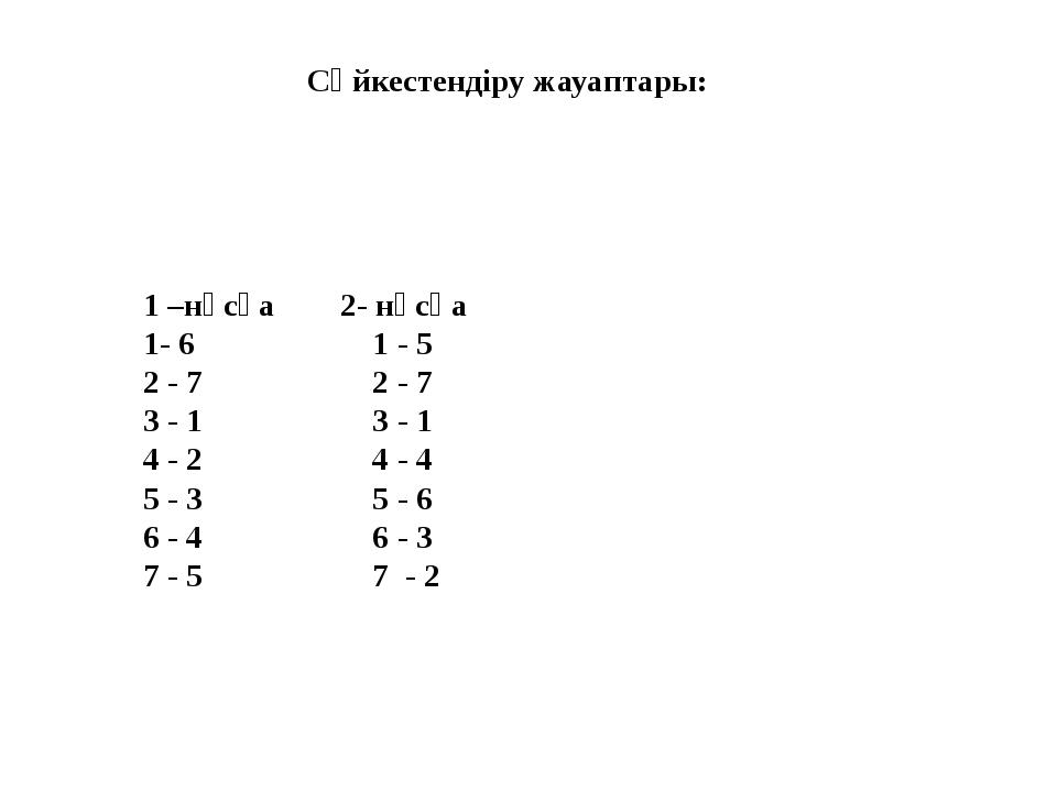 Сәйкестендіру жауаптары: 1 –нұсқа 2- нұсқа 1- 6 1 - 5 2 - 7 2 - 7 3 - 1 3 - 1...