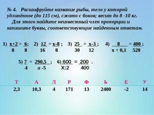 № 4. Расшифруйте название рыбы, тело у которой удлинённое (до 115 см), сжато
