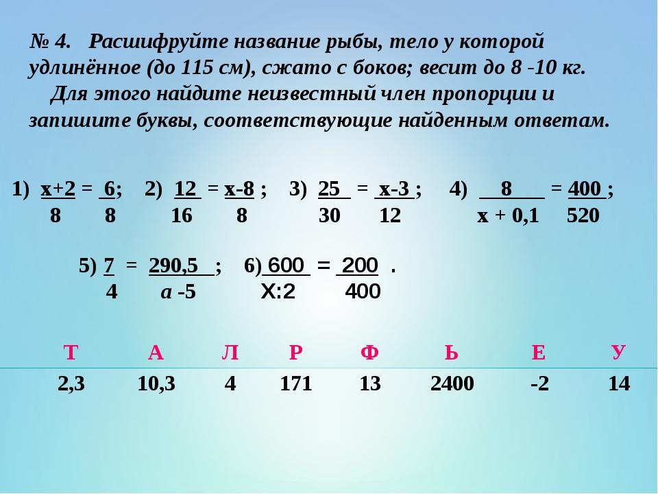 № 4. Расшифруйте название рыбы, тело у которой удлинённое (до 115 см), сжато...