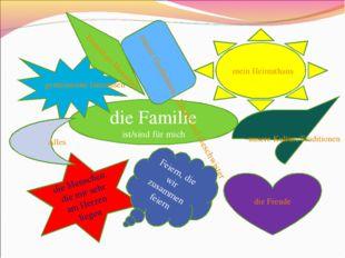 die Familie ist/sind für mich gemeinsame Interessen meine Großeltern, Eltern