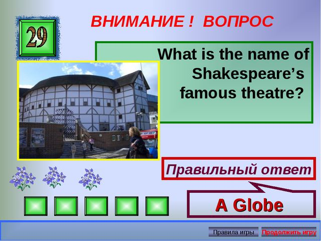 ВНИМАНИЕ ! ВОПРОС What is the name of Shakespeare's famous theatre? Правильны...