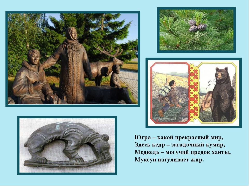 Югра – какой прекрасный мир, Здесь кедр – загадочный кумир, Медведь – могучий...