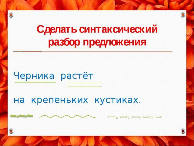 Сделать синтаксический разбор предложения Черника растёт на крепеньких кустик...