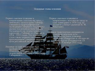 Основные этапы освоения Первое сквозное плавание в направлении с востока на з