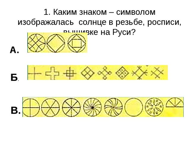 1. Каким знаком – символом изображалась солнце в резьбе, росписи, вышивке на...