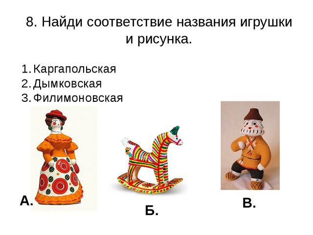 8. Найди соответствие названия игрушки и рисунка. Каргапольская Дымковская Фи...