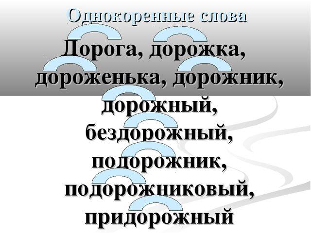 Однокоренные слова Дорога, дорожка, дороженька, дорожник, дорожный, бездорожн...