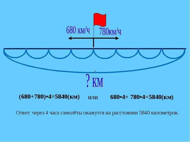 • (680+780)•4=5840(км) Ответ: через 4 часа самолёты окажутся на расстоянии 58...