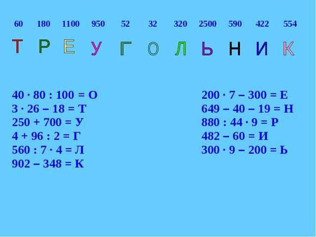 40 ∙ 80 : 100 = О200 ∙ 7 – 300 = Е 3 ∙ 26 – 18 = Т649 – 40 – 19 = Н...