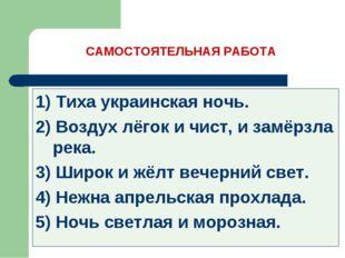 САМОСТОЯТЕЛЬНАЯ РАБОТА 1) Тиха украинская ночь. 2) Воздух лёгок и чист, и зам