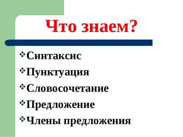 Что знаем? Синтаксис Пунктуация Словосочетание Предложение Члены предложения