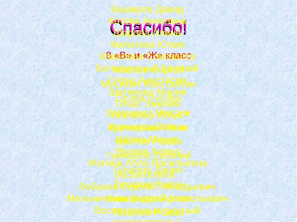 Спасибо! 8 «В» и «Ж» класс Маслов Сергей Мусихин Константин Орлов Руслан Шевч...