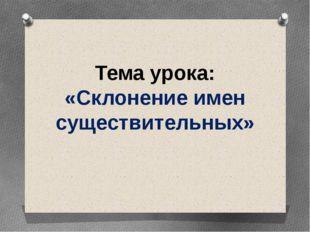 Тема урока: «Склонение имен существительных» Тема урока «Склонение имен суще