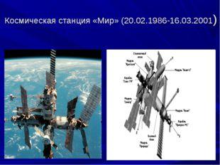 Космическая станция «Мир» (20.02.1986-16.03.2001)
