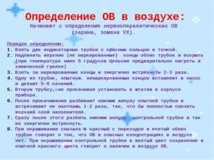 Определение ОВ в воздухе: Начинают с определения нервнопаралитических ОВ (зар