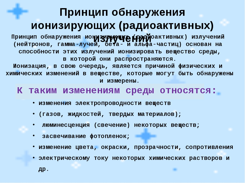 Принцип обнаружения ионизирующих (радиоактивных) излучений Принцип обнаружени...