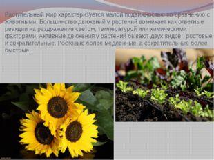 Растительный мир характеризуется малой подвижностью по сравнению с животными.