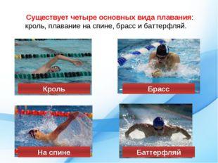 Существует четыре основных вида плавания: кроль, плавание на спине, брасс и б