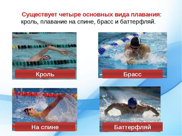Существует четыре основных вида плавания: кроль, плавание на спине, брасс и б...