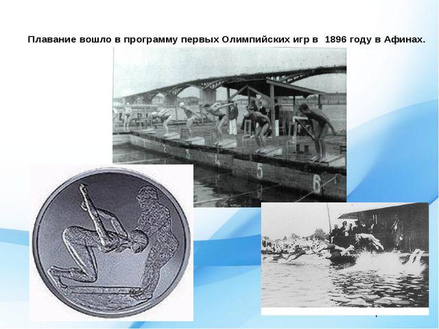 1900 г. Летние игры Плавание вошло в программу первых Олимпийских игр в 1896...