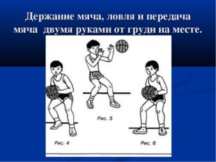 Держание мяча, ловля и передача мяча двумя руками от груди на месте.
