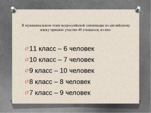 В муниципальном этапе всероссийской олимпиады по английскому языку приняло уч