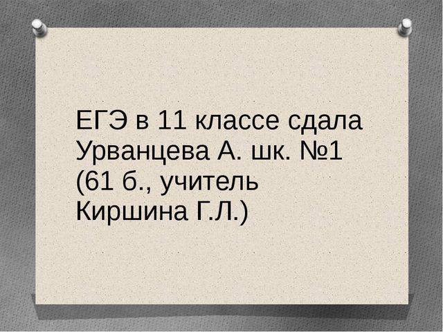 ЕГЭ в 11 классе сдала Урванцева А. шк. №1 (61 б., учитель Киршина Г.Л.)