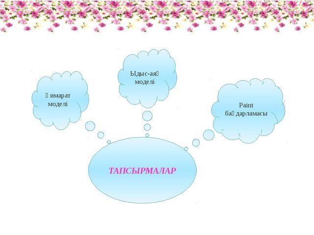 ТАПСЫРМАЛАР Ғимарат моделі Ыдыс-аяқ моделі Paint бағдарламасы