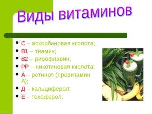 С – аскорбиновая кислота; В1 – тиамин; В2 – рибофлавин; РР – никотиновая кисл
