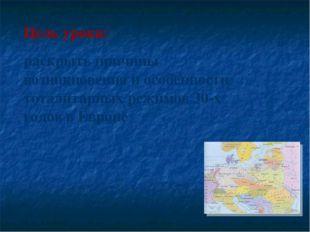Цель урока: раскрыть причины возникновения и особенности тоталитарных режимов