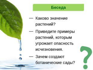 Беседа Каково значение растений? Приведите примеры растений, которым угрожает
