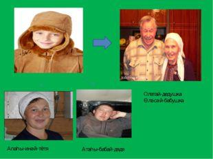 Олатай-дедушка Өләсәй-бабушка Апаһы-инәй-тётя Атаһы-бабай-дядя