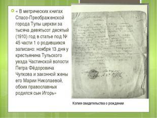 « В метрических книгах Спасо-Преображенской города Тулы церкви за тысяча девя