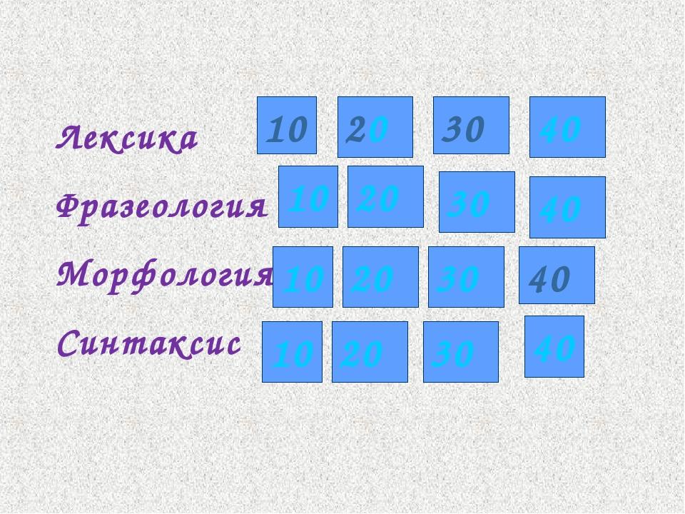 Лексика Фразеология Морфология Синтаксис 10 30 40 10 20 30 40 10 20 30 40 10...