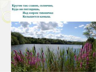 Кругом так славно, солнечно, Куда ни поглядишь, Над озером тихонечко Колышетс