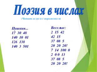 Пушкин... 17 30 48 140 10 01 126 138 140 3 501 Веселые: 2 15 42 42 15 37 08 5