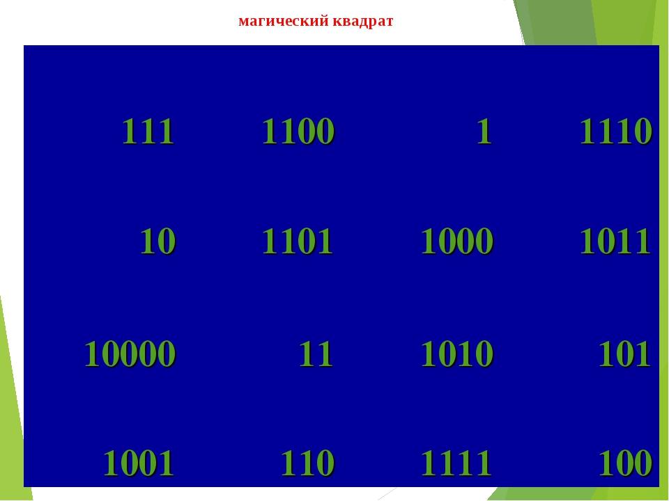 магический квадрат 111110011110 10110110001011 10000111010101 10011...