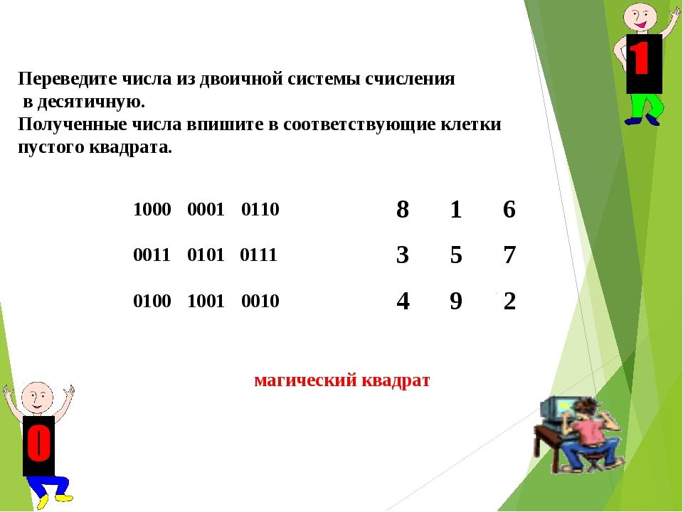 Переведите числа из двоичной системы счисления в десятичную. Полученные числ...