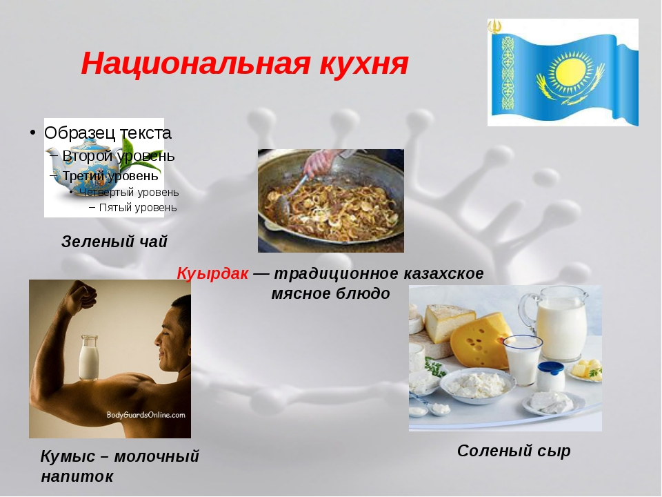 Национальная кухня Куырдак — традиционное казахское мясное блюдо Зеленый чай...