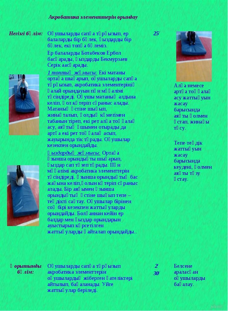 Акробатика элементтерін орындау Негізгі бөлім: Оқушыларды сапқа тұрғызып,...