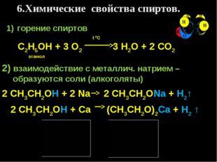 6.Химические свойства спиртов. горение спиртов t 0C С2Н5ОН + 3 О2 3 Н2О + 2 С