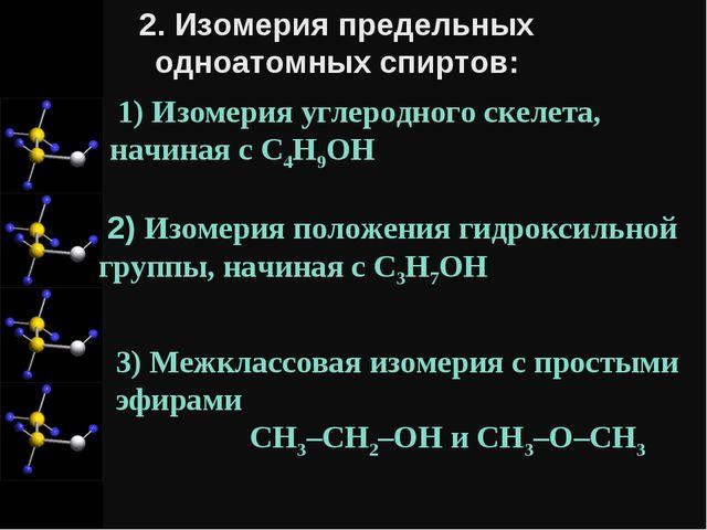1) Изомерия углеродного скелета, начиная с C4H9OH 2) Изомерия положения гидр...