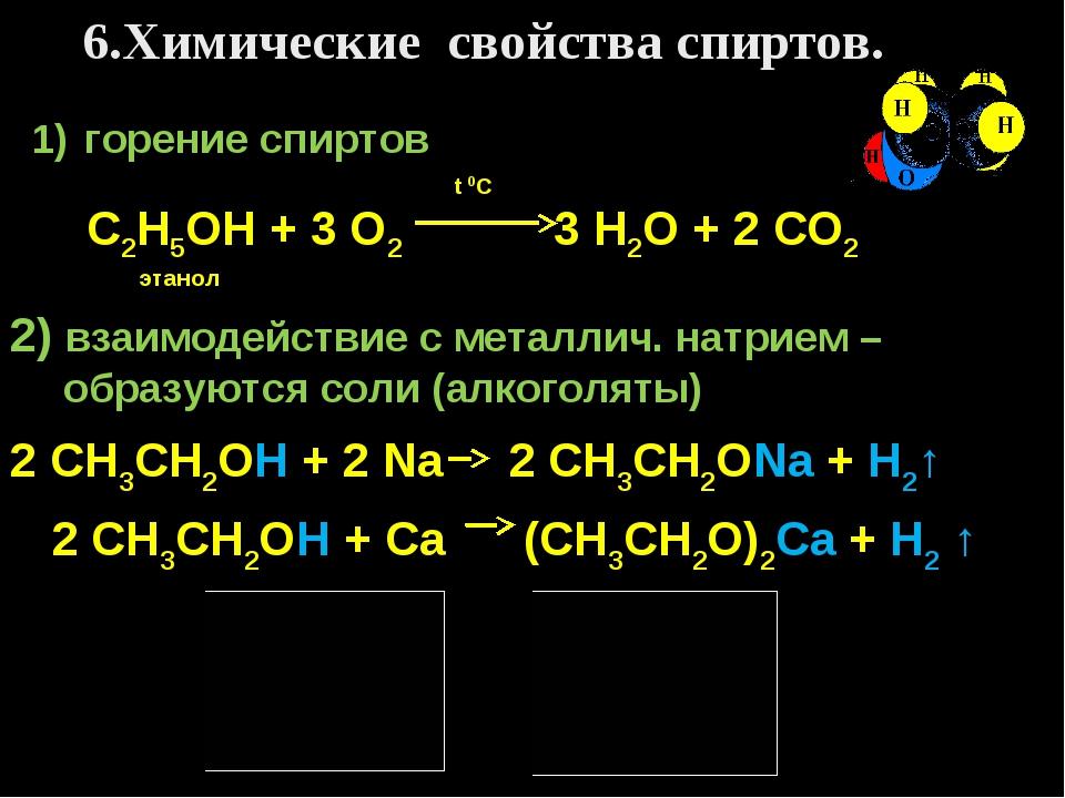 6.Химические свойства спиртов. горение спиртов t 0C С2Н5ОН + 3 О2 3 Н2О + 2 С...