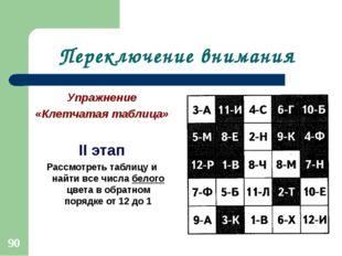 Переключение внимания Упражнение «Клетчатая таблица» II этап Рассмотреть табл