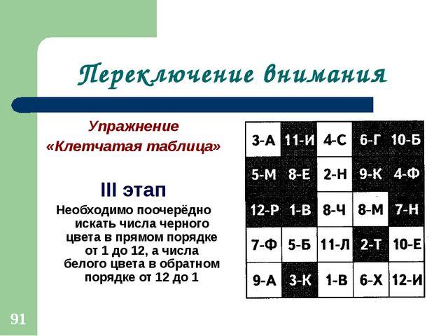 Переключение внимания Упражнение «Клетчатая таблица» III этап Необходимо пооч...