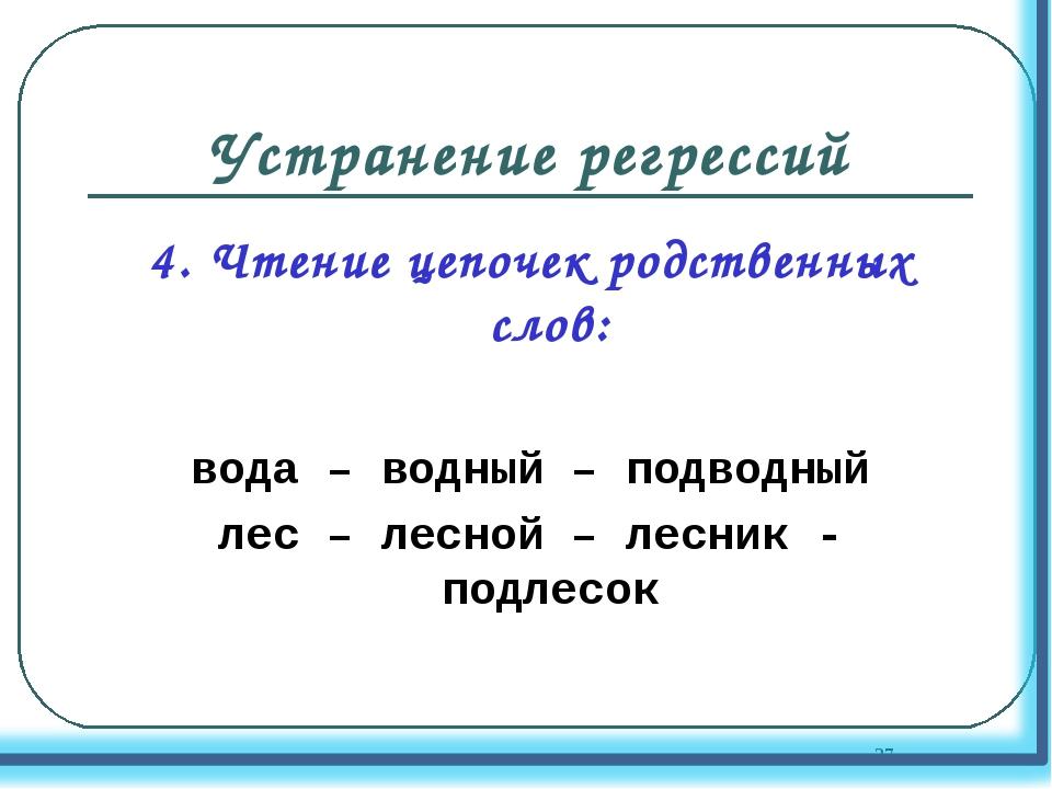 Устранение регрессий 4. Чтение цепочек родственных слов: вода – водный – подв...