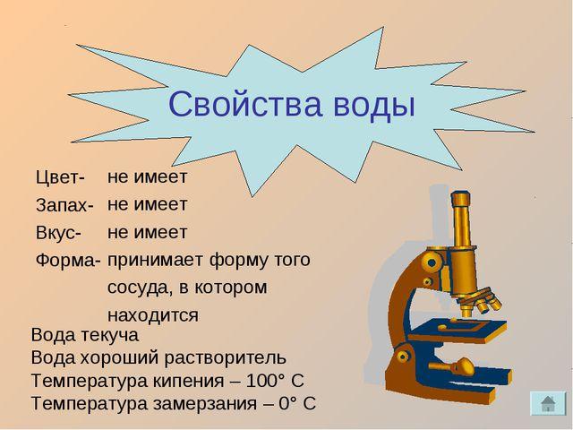 Свойства воды Цвет- Запах- Вкус- Форма- не имеет не имеет не имеет принимает...