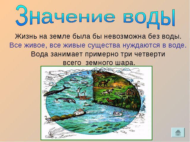 Жизнь на земле была бы невозможна без воды. Все живое, все живые существа нуж...